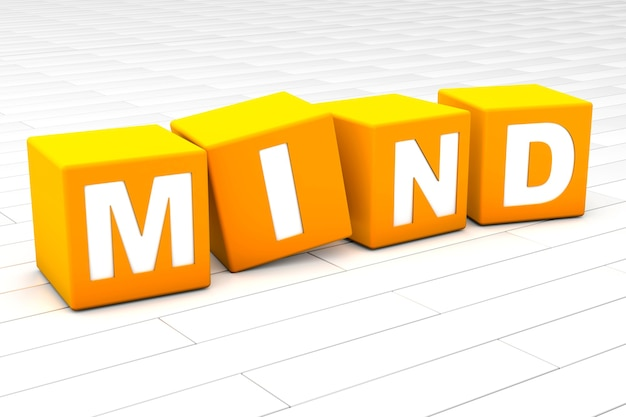 3d illustratie van het woord mind