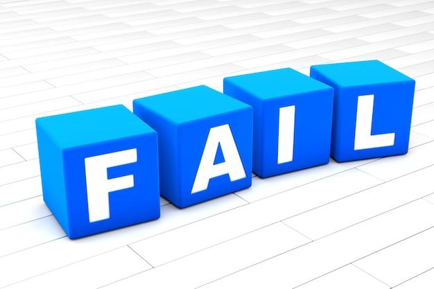 3d illustratie van het woord mislukken