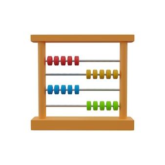 3d illustratie van houten telraam met kleurrijke kralen. abacus met kleurrijke houten kralen.