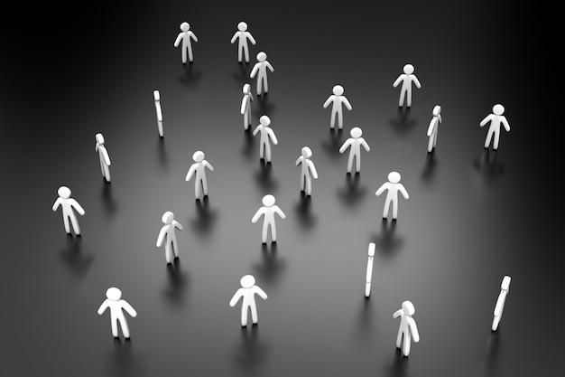 3d illustratie van individuen die een menigte vormen