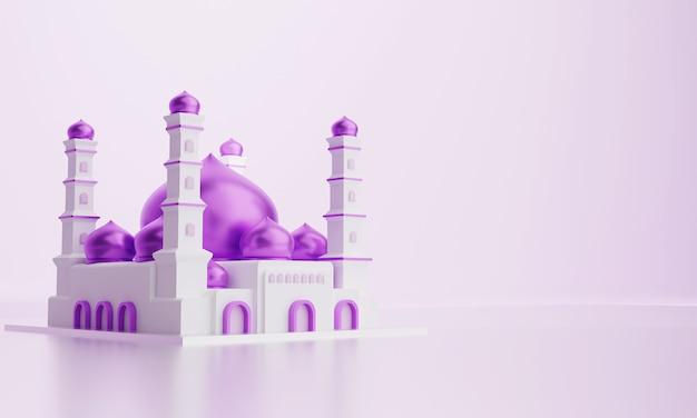 3d illustratie van islamitische moskee met paarse koepel