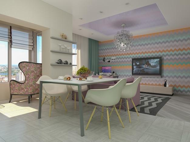 3d illustratie van kleine flats in pastelkleuren. living roo