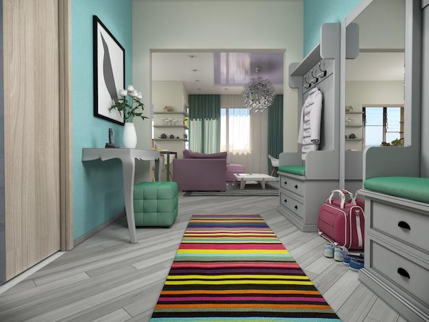 3d illustratie van kleine flats in pastelkleuren.