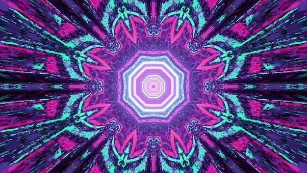 3d illustratie van kleurrijk sierbloemvormig caleidoscooppatroon met gloeiende stralen als samenvatting