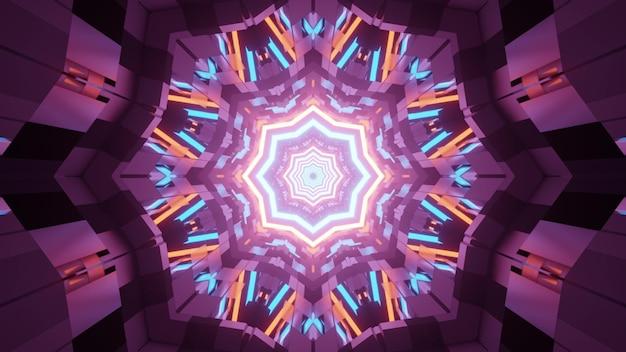 3d illustratie van kleurrijke fractal caleidoscoop patroon met neonlichten in duisternis als abstract
