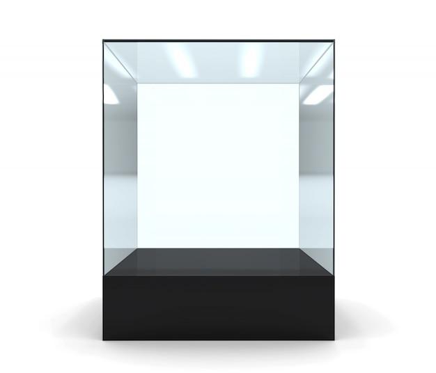 3d illustratie van lege glasshowcase vooraan