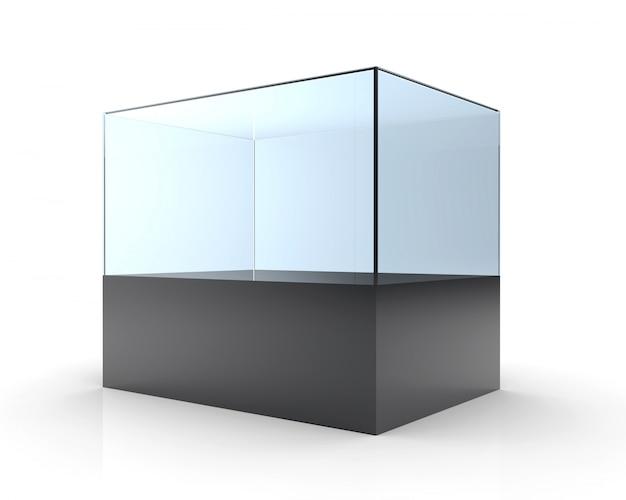 3d illustratie van lege glazen vitrine
