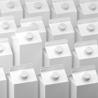 3d illustratie van melk of sappakketten