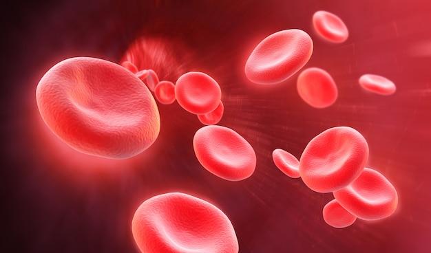 3d illustratie van menselijke rode bloedcellen