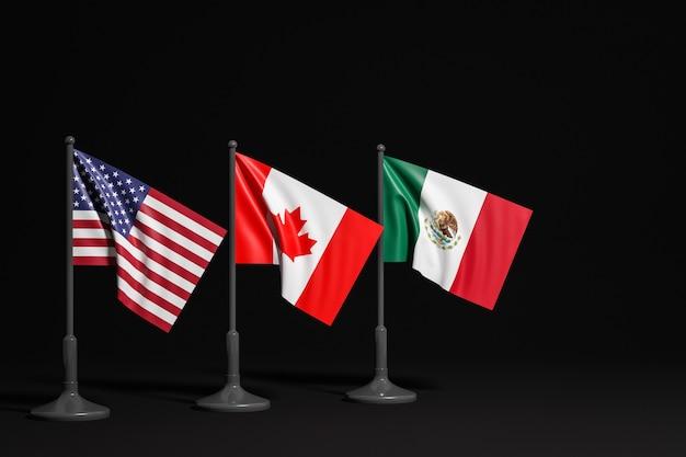3d illustratie van nationale vlaggen