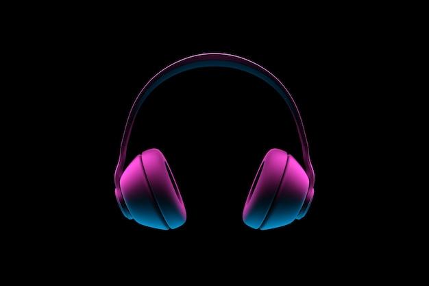 3d illustratie van neon retro hoofdtelefoons op zwarte geïsoleerde achtergrond