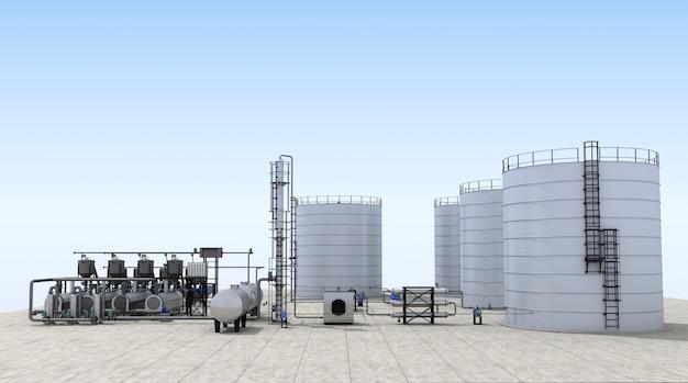 3d illustratie van olieraffinaderij