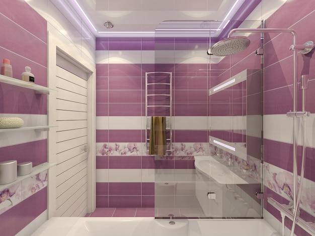 3d illustratie van ontwerp van een badkamer op violet