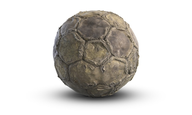 3d illustratie van oude gebruikte voetbal of voetbalbal die op witte achtergrond wordt geïsoleerd