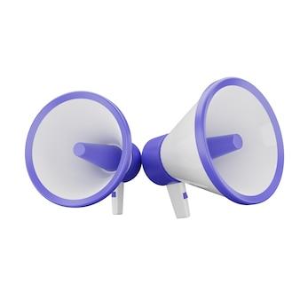 3d illustratie van paarse megafoon 2 met witte achtergrond