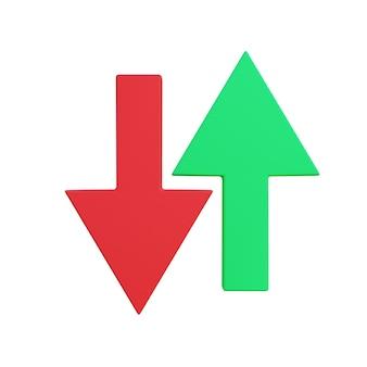 3d illustratie van pijl naar beneden en omhoog met witte achtergrond