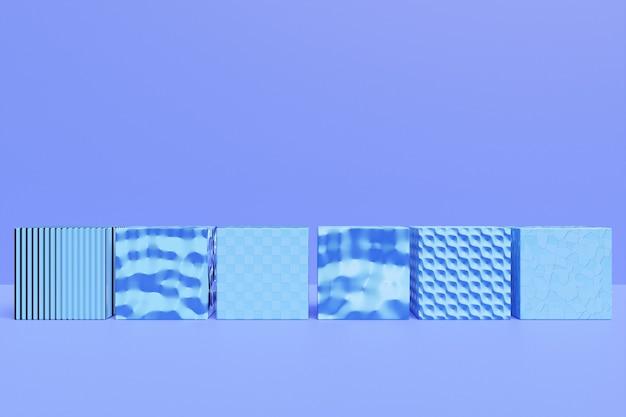 3d illustratie van rij van blauwe kubussen. parallellogram patroon. technologie geometrie achtergrond