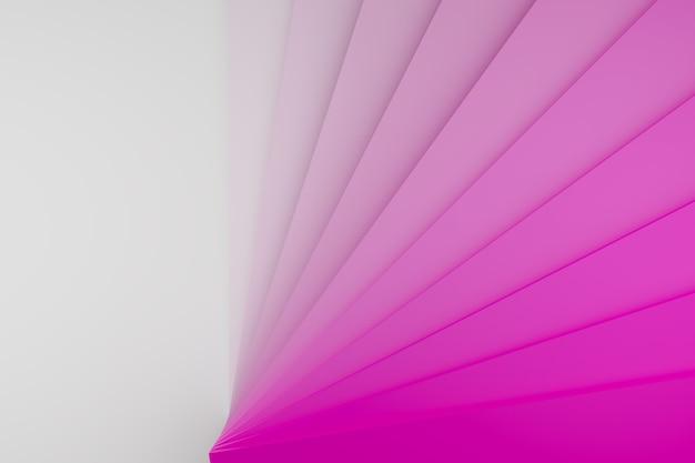 3d illustratie van rijen roze strepen die lijken op visitekaartjes of voorbeelden van kleuren.