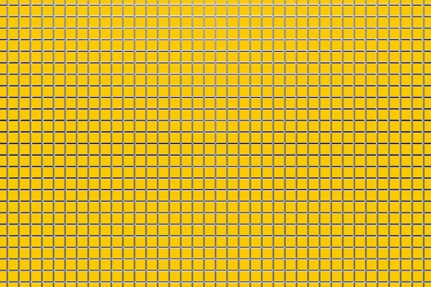 3d illustratie van rijen strepen flankerende cellen. set mesh op gele achtergrond. vierkant patroon. technologie geometrie achtergrond