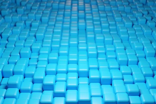 3d illustratie van rijen van blauwe kubus. set kauwgom op blauwe achtergrond.