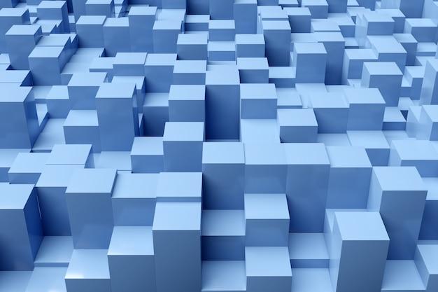 3d illustratie van rijen van blauwe neon pleinen. set kubussen op monocrome achtergrond, patroon. geometrie achtergrond