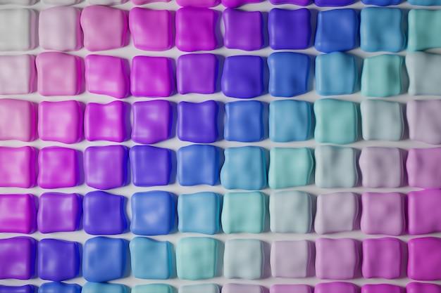 3d illustratie van rijen van multi-coloured kauwgom in gradiëntkleuren.