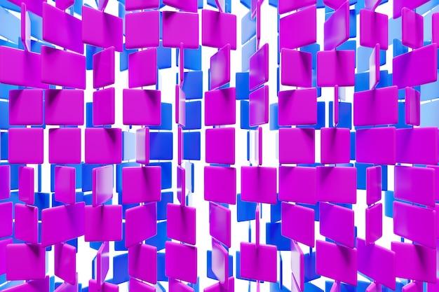 3d illustratie van rijen van paarse en roze vierkanten. set van kubussen op monocrome achtergrond, patroon. geometrie achtergrond