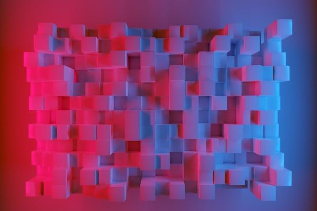 3d illustratie van rijen van roze en blauwe neon pleinen. set van kubussen op monocrome achtergrond