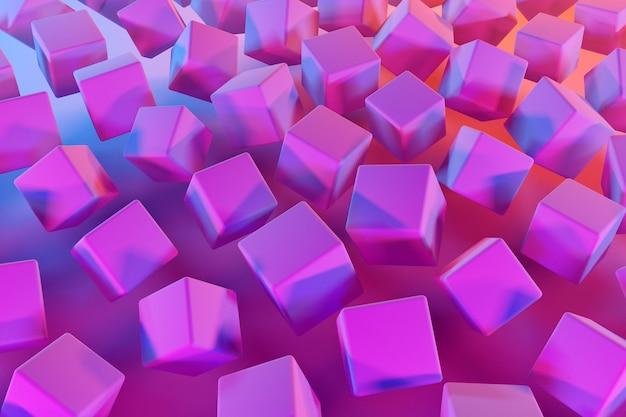 3d illustratie van rijen van roze kubussen onder een blauw-roze neonkleur. parallellogram patroon.
