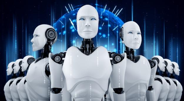 3d illustratie van robot humanoïde groep