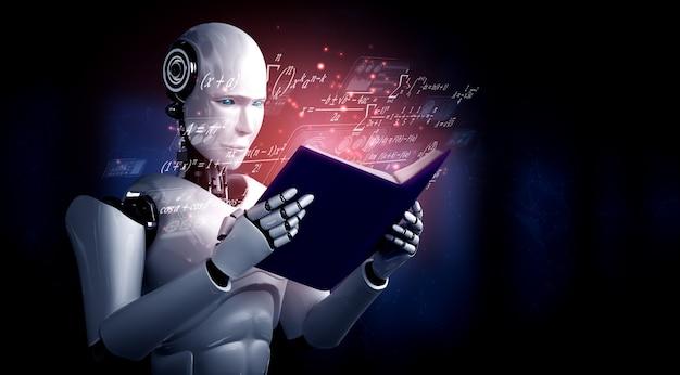 3d illustratie van robot humanoïde leesboek en het oplossen van wiskunde