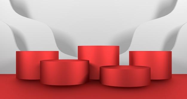 3d illustratie van rood cilinderpodium op witte kleur als achtergrond
