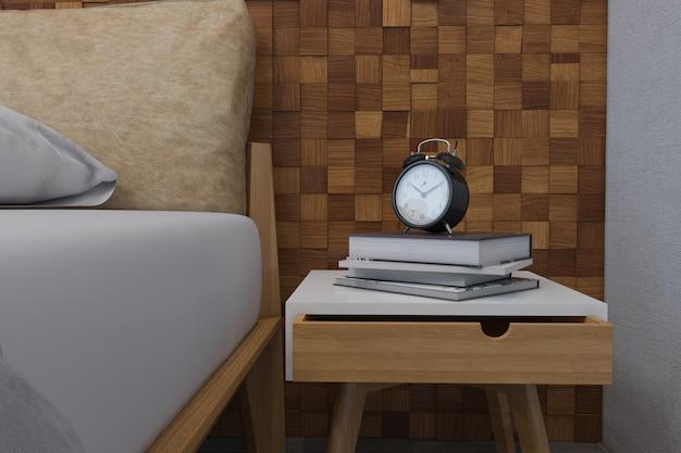 3d illustratie van slaapkamers in een scandinavische stijl