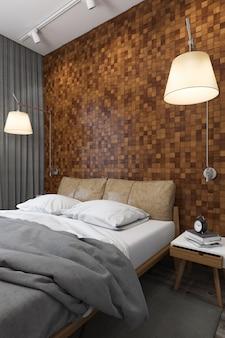 3d illustratie van slaapkamers in skandinavische stijl
