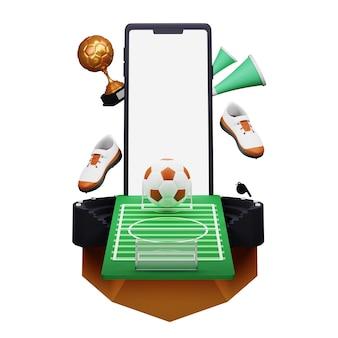 3d illustratie van smartphone met voetbalstadion weergave en bronzen trofee cup op witte achtergrond.