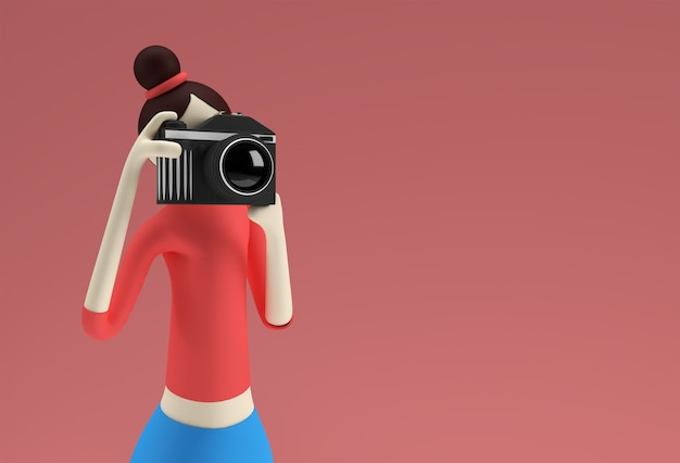 3d illustratie van staande cartoon vrouwelijke holding camera fotograferen, 3d render design.