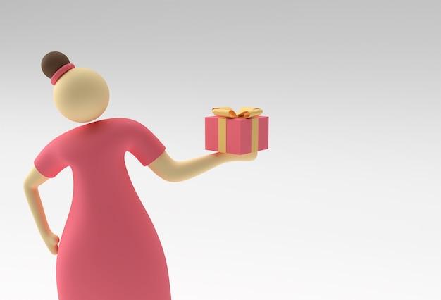 3d illustratie van staande vrouw mand met geschenkdoos, 3d render design.