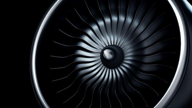 3d illustratie van straalmotor, de bladen van de de straalmotor van de close-upmening
