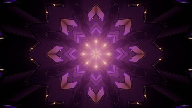 3d illustratie van symmetrisch paars caleidoscoop ornament met paarse lijnen als abstracte achtergrond