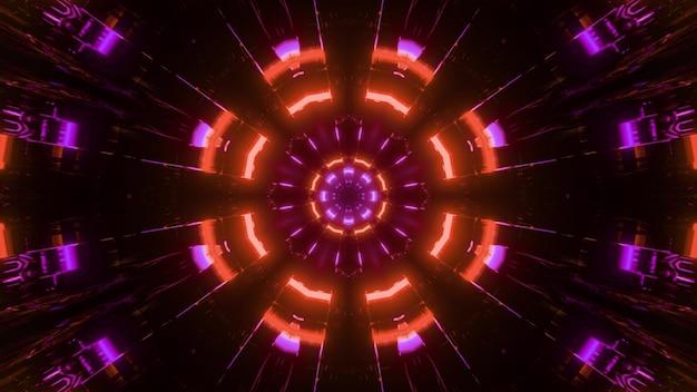 3d illustratie van symmetrisch patroon van felle gloeiende lichten in beweging als caleidoscoopachtergrond