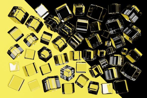 3d illustratie van transparante vierkanten. set kubussen op zwarte en gele achtergrond, patroon. geometrie achtergrond