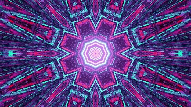 3d illustratie van veelkleurig grafisch caleidoscooppatroon met symmetrische geometrische vormen als abstract