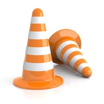3d illustratie van verkeerskegel omvergeworpen op witte achtergrond