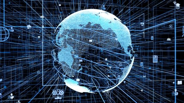 3d illustratie van wereldwijd online internet netwerkconcept