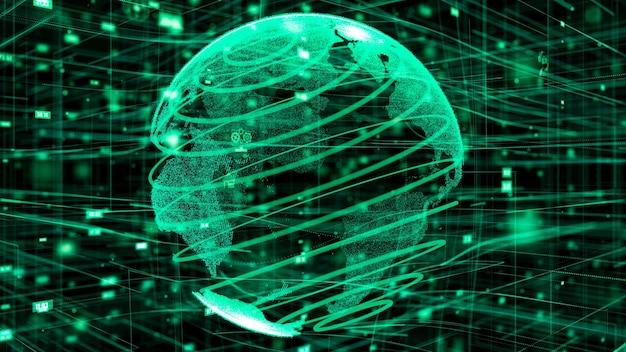 3d illustratie van wereldwijd online internet netwerkconcept Premium Foto