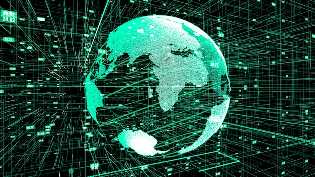 3d illustratie van wereldwijd online internetnetwerk