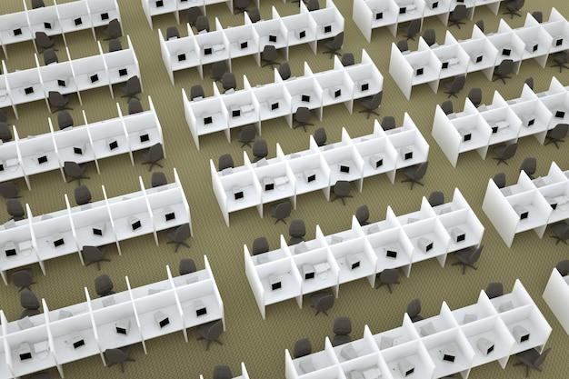 3d illustratie van werkplekken met scheidingswanden op kantoor geïsoleerde plaatsen op kantoor veel w