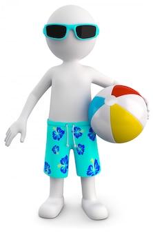 3d illustratie van wit mannetje met strandbal