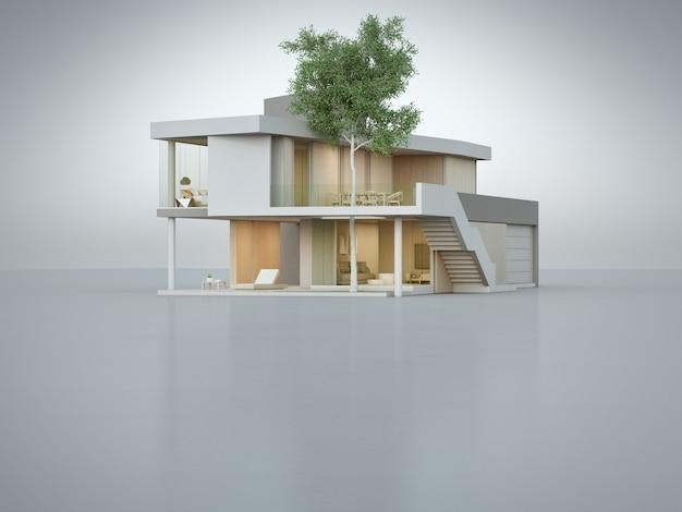 3d illustratie van woningbouwbuitenkant.