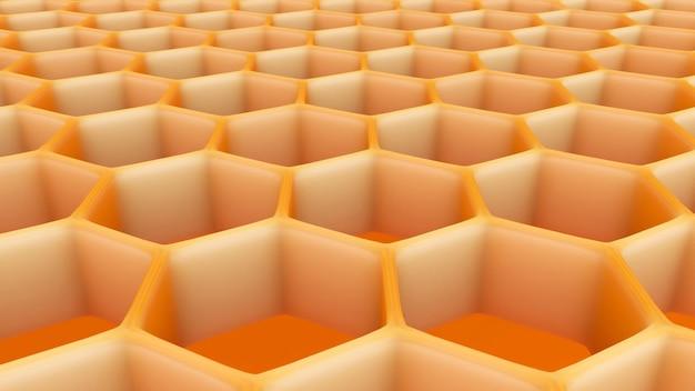 3d illustratie van zeshoekige abstracte honingraatstructuur.